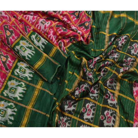 Vintage Indian Saree Woven Patola Sari Fabric 100% Pure Silk Pink