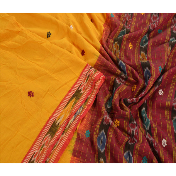 Vintage Indian Saree Woven Patola Sari Fabric 100% Pure Silk Yellow