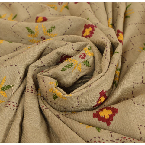 Vintage Hand Embroidered Woolen Shawl Grey Stole Floral