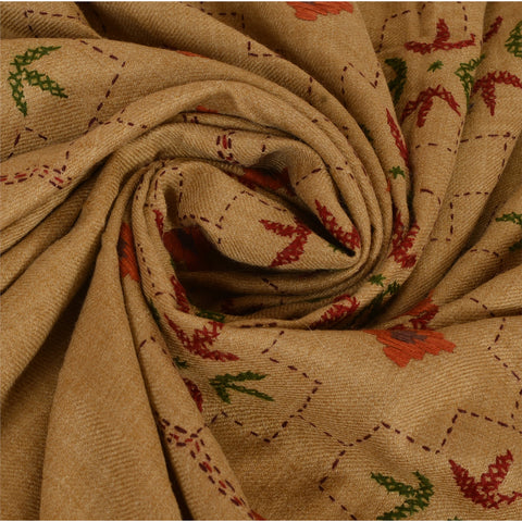 Vintage Hand Embroidered Woolen Shawl Brown Stole Floral