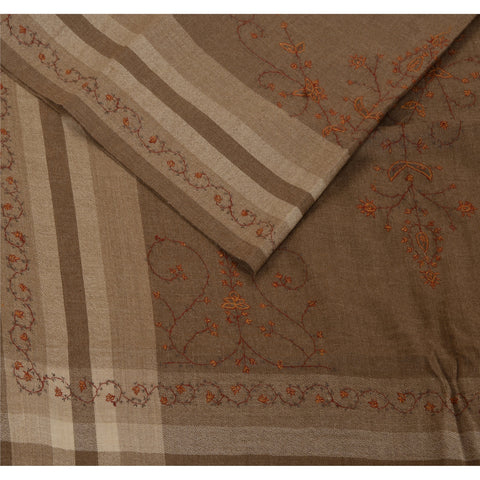 Vintage Hand Hand Embroidered Woolen Shawl Brown Sozni Stole Floral