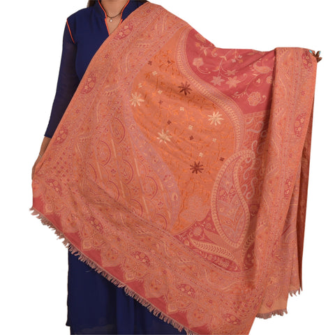 Vintage Hand Embroidered Woolen Shawl Pink Arizama Stole Paisley