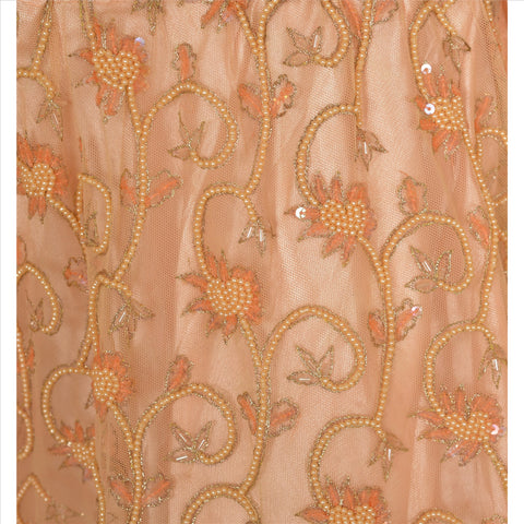 Vintage Hand Beaded Lehenga Indian Skirt Peach Party Pearl Beads - StompMarket