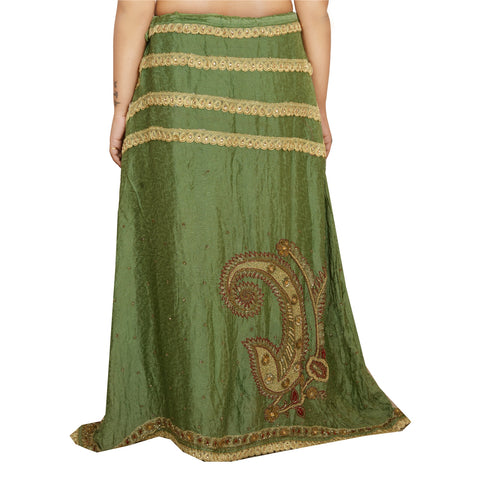 Vintage Hand Beaded Lehenga Pure Silk Indian Green Long Skirt Sequins - StompMarket