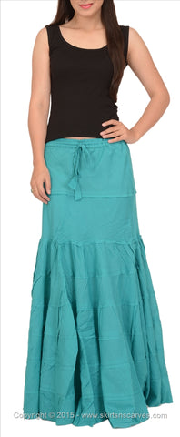 A-Lined Long Cotton Skirt For Women (Sea Green)