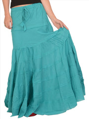 A-Lined Long Cotton Skirt For Women (Sea Green) - StompMarket