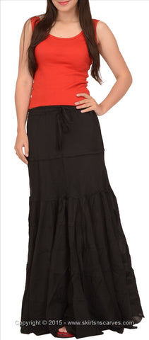 A-Lined Long Cotton Skirt For Women (Black)