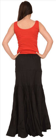 A-Lined Long Cotton Skirt For Women (Black) - StompMarket