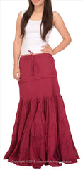 A-Lined Long Cotton Skirt For Women (Blue) - StompMarket