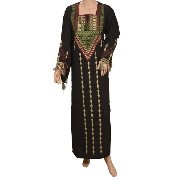 Vintage Georgette Sindhi Hand Embroidered Fashion Style Long Top Black
