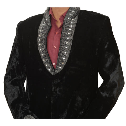 Vintage Fabric Velvet Hand Beaded Jacket Top Fashion Indian Black