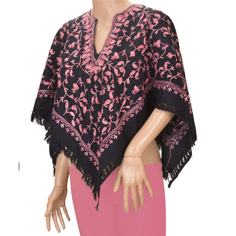Vintage Fabric Woolen Hand Embroidered Arizama Style Poncho Top Black
