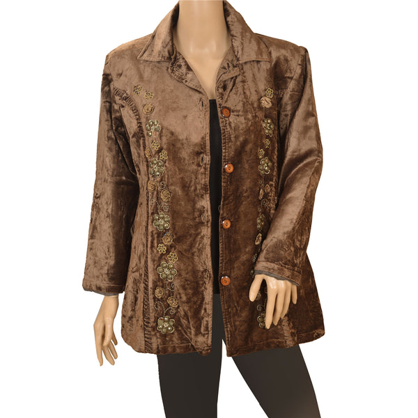 Vintage Fabric Velvet Hand Beaded Top Fashion Jacket Style Top Brown