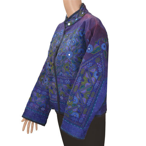Vintage Cotton Hand Embroidered Jacket Style Short Top Blue Mirror