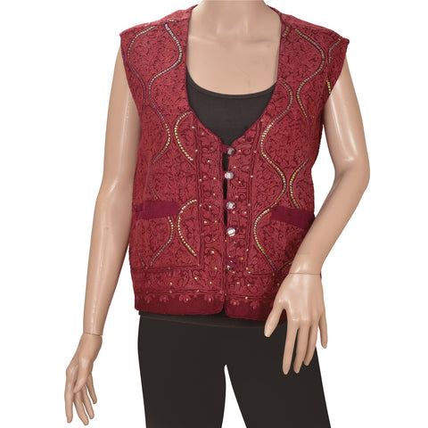Vintage Woolen Hand Embroidered Aarizama Jacket Style Short Top Maroon