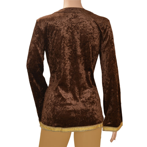 Vintage Fabric Velvet Hand Beaded Style Top Fashion Indian Brown Sequins