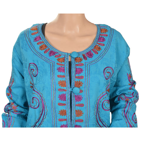 Vintage Cotton Hand Embroidered Arizama Jacket Style Long Top Blue