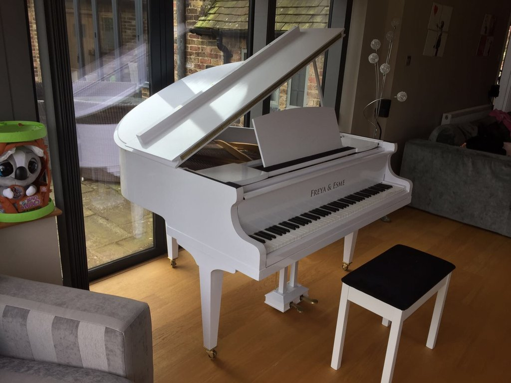 Up-Cycled White Baby Grand Piano