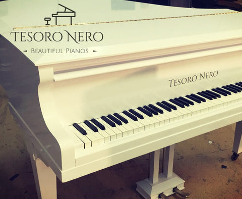 Tesoro Nero Up-cycled White Baby Grand Piano