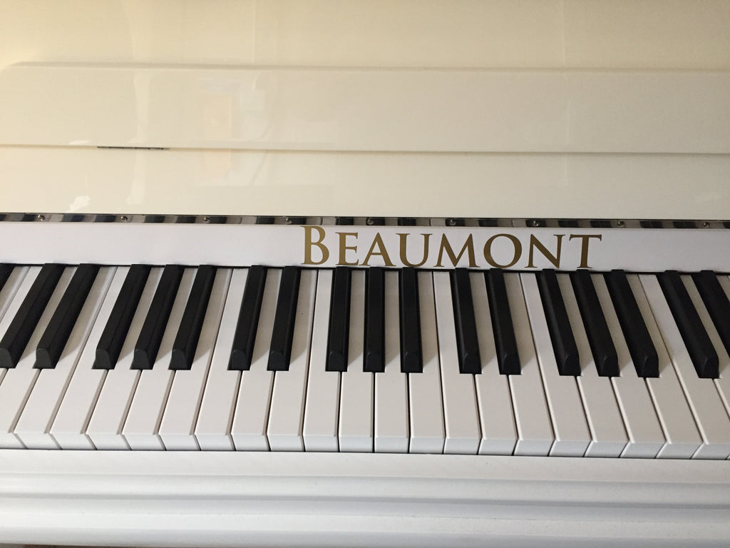 New White Beaumont Upright Piano
