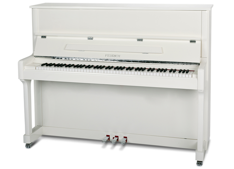 Feurich 122 White Upright Piano – UNIVERSAL