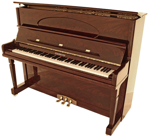 Brand New Steinhoven SU 128 High Gloss Mahogany Upright Piano