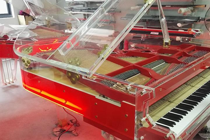 BRAND NEW RED CRYSTAL GRAND PIANO SELF PLAYING PIANO