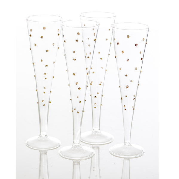 Gatsby Champagne Flute, Gold Dots
