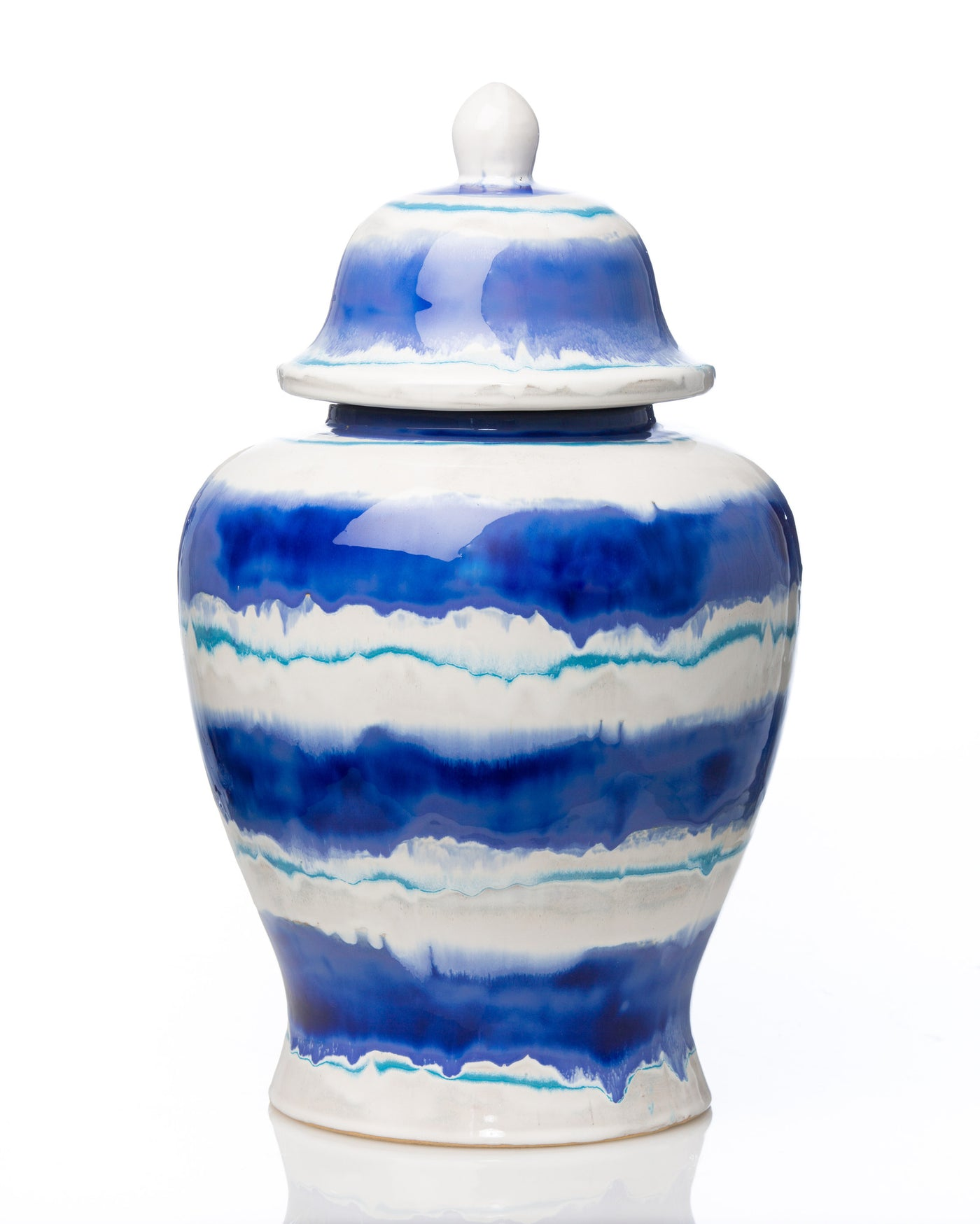 Watercolor Lidded Ceramic Urn - Villa Decor Design & Style - 2