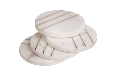 Round Marble With Brass Coasters - Opal White - Set of 4