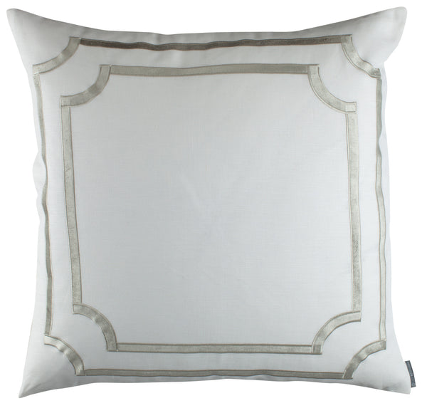 SoHo European Pillow with Ice Silver Velvet Trim - Villa Decor Design & Style