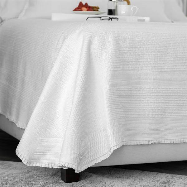Battersea King Coverlet - White Cotton