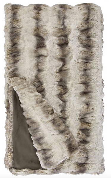 Truffle Chinchilla Couture Collection Faux Fur Throw