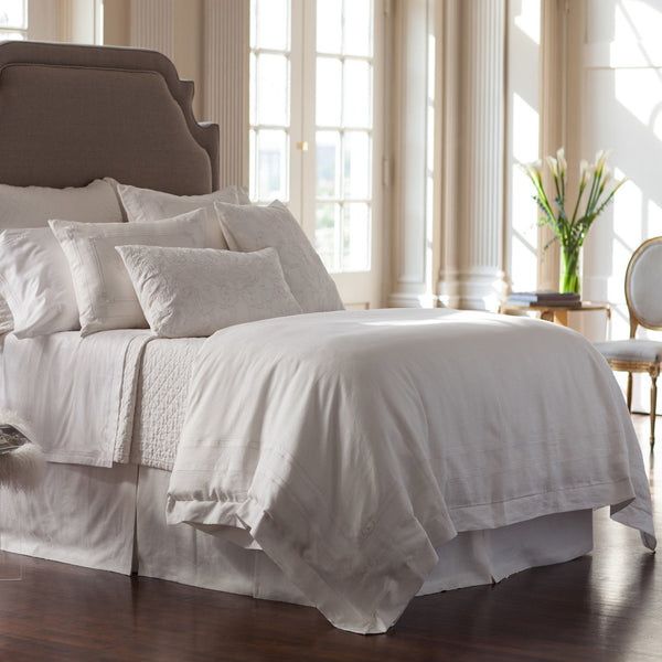 White Tailored Three Panel Bed Skirt in White Linen - Villa Decor Design & Style