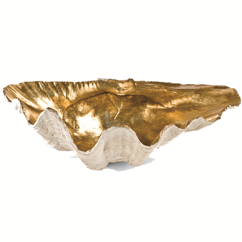 Small Clam Bowl with Antique Gold Interior - Villa Decor Design & Style