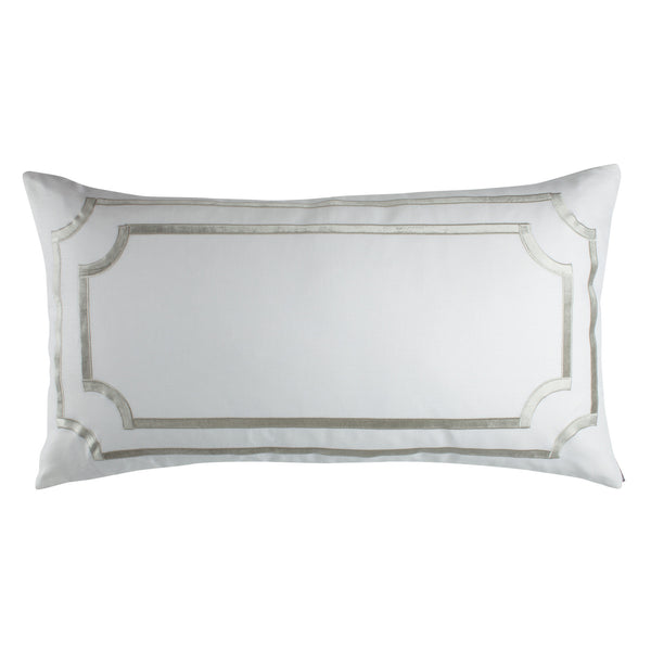 SoHo King Pillow with Ice Silver Velvet Trim - Villa Decor Design & Style - 1