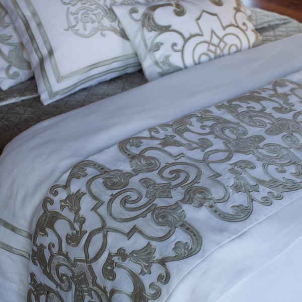 Ice Silver Chloe Mozart Throw with Velvet Applique - Villa Decor Design & Style