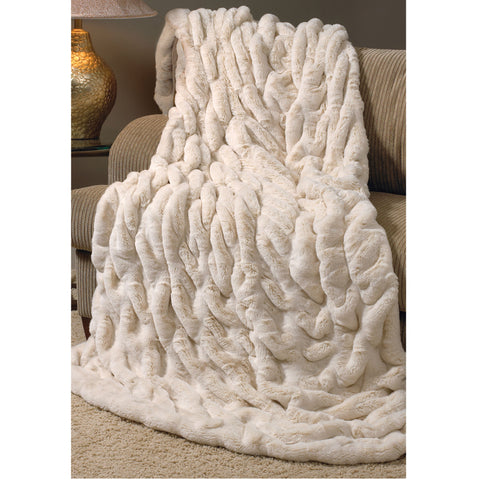 Ivory Mink Couture Faux Fur Throw - Villa Decor Design & Style