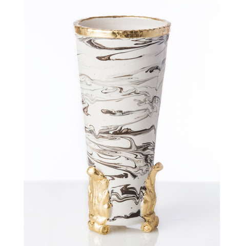 Marble Vase with Gold Acanthus Accents - Villa Decor Design & Style