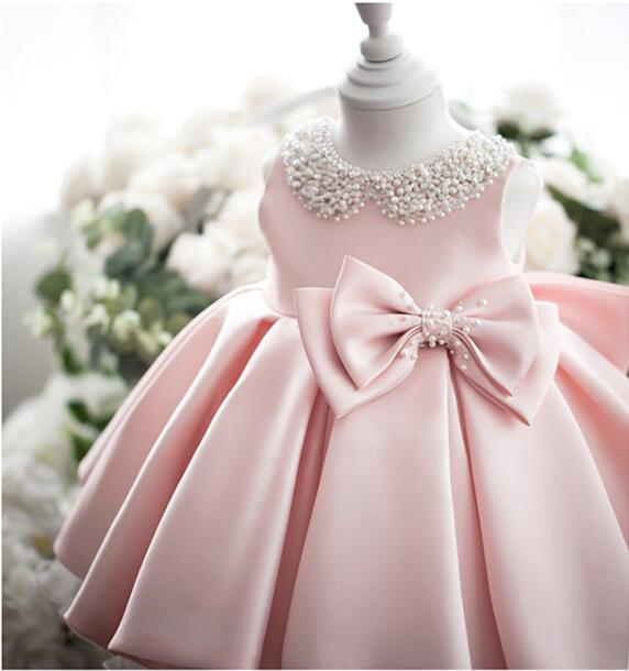 Princess Baby Girl Dress Birthday Party Baby Dress Bow Cute Newborn Girl Dress Baptism Baby Dress