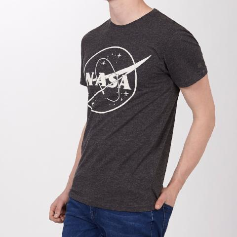 NASA Logo Burn Out T-Shirt - Black