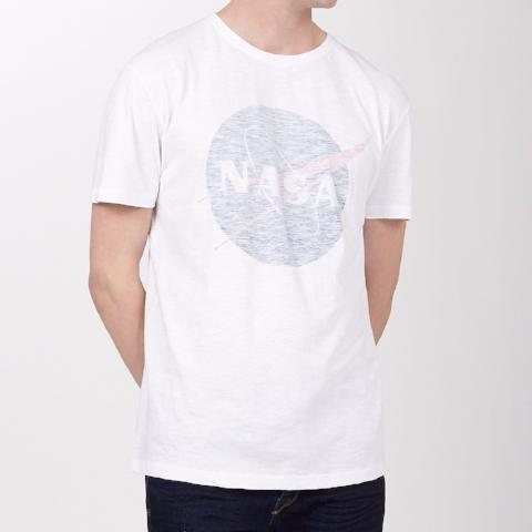 NASA Logo Burn Out T-Shirt - White