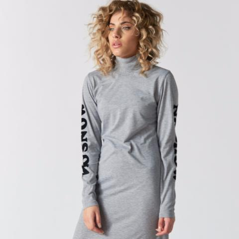 No Snow No Show Flock Print Funnel Neck Dress