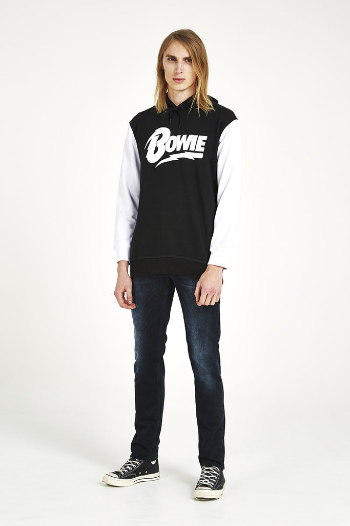 David Bowie Contrast Hoody with Front Pocket - Black
