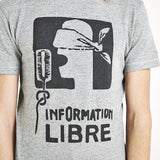 Paris Riots 'Information Libre' T-Shirt - Grey