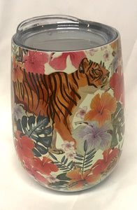 Tigers in Hibiscus Stemless Wine Glass
