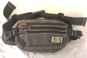 Charcoal Pocketed Canvas Waist Bag