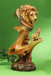 "9.5"" Woodlike Lion Bust Carving"