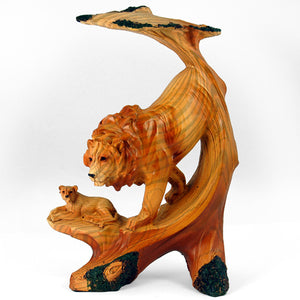 "6.5"" Wood-like Lion Statue"