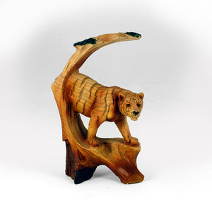 "5"" Tiger Scene Wood Like Carving"